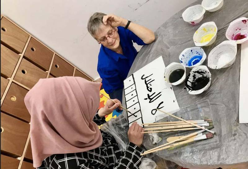 Marie-Claude Quignon, a French  visual artist , working in a Palestinian refugee camp. Courtesy Marie-Claude Quignon