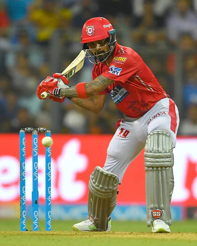 Kings XI Punjab cricketers KL Rahul plays a shot during the 2018 Indian Premier League (IPL) Twenty20 cricket match between Mumbai Indians and Kings XI Punjab at the Wankhede Stadium in Mumbai on May 16, 2018. / AFP PHOTO / INDRANIL MUKHERJEE / ----IMAGE RESTRICTED TO EDITORIAL USE - STRICTLY NO COMMERCIAL USE----- / GETTYOUT