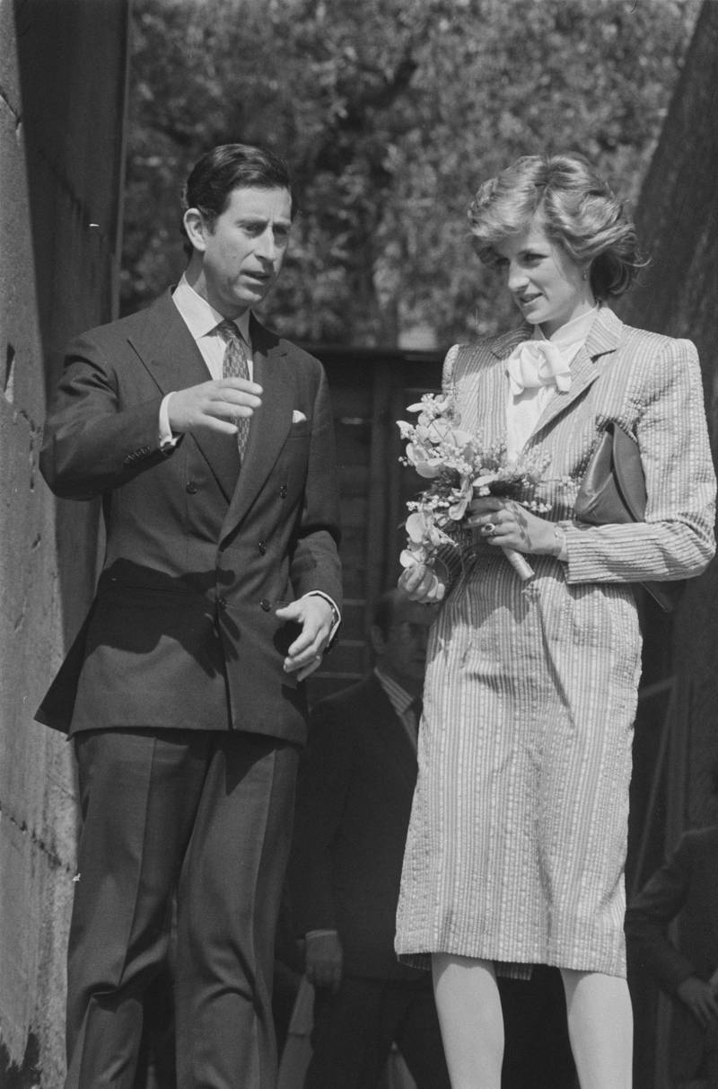 Prince Charles and Diana, Princess of Wales (1961 - 1997), wearing a Bruce Oldfield striped suit, in Rome, Italy, 27th April 1985. (Photo by Steve Wood/Daily Express/Hulton Archive/Getty Images)