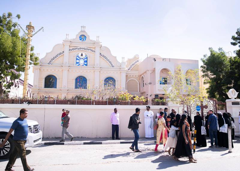 SHARJAH, UNITED ARAB EMIRATES. 25 JANUARY 2020. St.Gregorios Orthodox Church. An architectural walk today exploring spaces of coexistence around Al Qasimiyah neighborhood in Sharjah. The journey followed the path of the recently launched publication: In Search if Spaces of Coexistence: An Architect's Journey.(Photo: Reem Mohammed/The National)Reporter:Section: