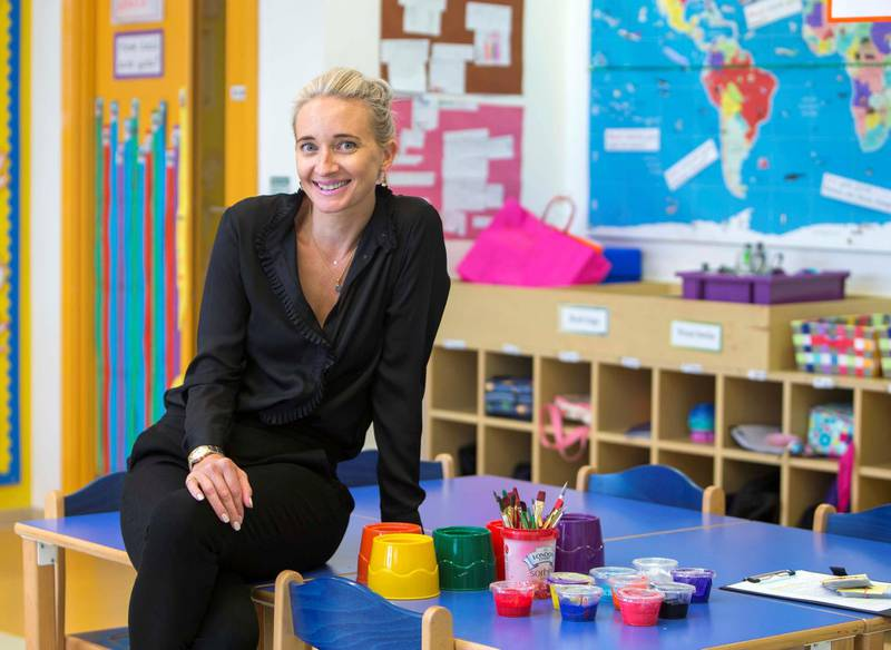 DUBAI, ARAB EMIRATES, 10 May 2018 - Naomi Williams, Headmistress at Foremore School, Al Barsha South Dubai for story on schools in Dubai are struggling to achieve better standards in Arabic.  Leslie Pableo for The National