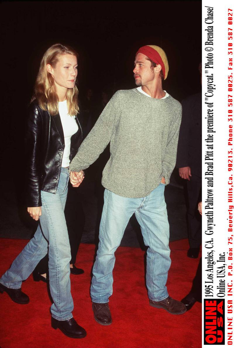 """1995 Los Angeles, CA. Gwyneth Paltrow and Brad Pitt at the premiere of """"Copycat."""""""