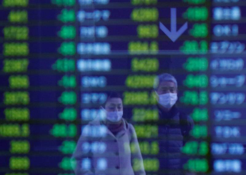 Passersby wearing protective face masks, following an outbreak of the coronavirus, are reflected on a screen displaying stock prices outside a brokerage in Tokyo, Japan March 6, 2020.   REUTERS/Issei Kato