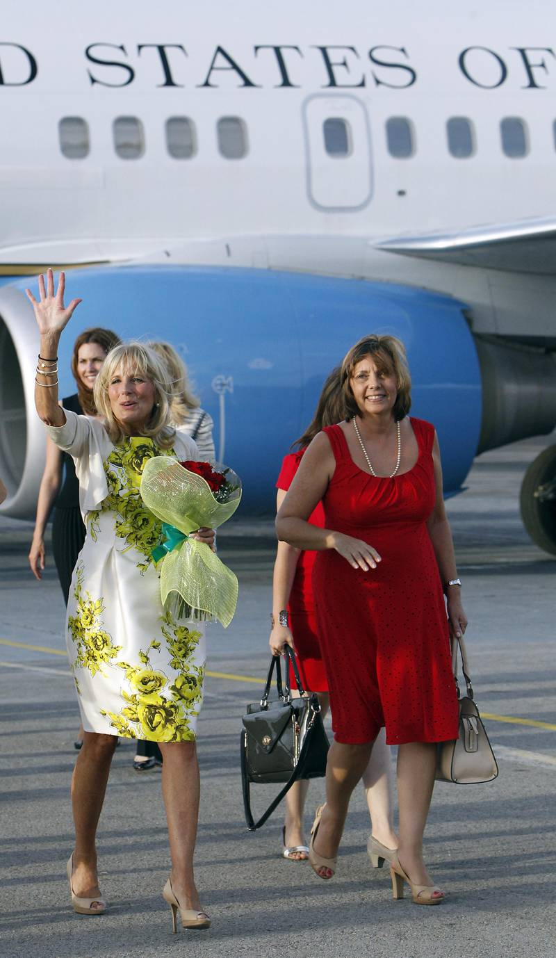 epa05573776 US Second Lady Jill Biden (L), the wife of US Vice President Joe Biden, is welcomed by Director General of the Department of the United States at the Cuban Ministry of Foreign Affairs (MINREX) Josefina Vidal (R) upon her arrival in Havana, Cuba, 06 October 2016, prior to her meeting with members of the Government and social representatives of the island. Biden is in Cuba from 06 to 09 October.  EPA/ERNESTO MASTRASCUSA