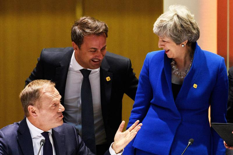 BRUSSELS, BELGIUM - APRIL 10:(L-R) President of the European Council Donald Tusk, Luxembourg's Prime Minister Xavier Bettel and British Prime Minister Theresa May talk at a round table meeting on April 10, 2019 in Brussels, Belgium.Theresa May formally presents her case to the European Union for a short delay to Brexit until 30 June 2019. The other EU leaders will then then discuss how to respond at a dinner without her. (Photo by Leon Neal - Pool/Getty Images)
