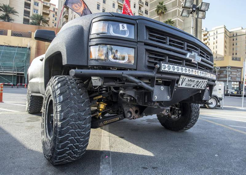 DUBAI, UNITED ARAB EMIRATES - Chevy Hercules model 2014 with modified body texture and fully modified with bajakits King of the Trucks winner owned by Fadi at UAE Offroaders Show at Al Ghurair Centre.  Leslie Pableo for The National for Adam Workman's story