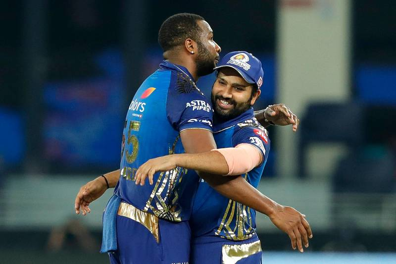 The Mumbai Indians celebrating the win during the qualifier 1 match of season 13 of the Dream 11 Indian Premier League (IPL) between the Mumbai Indians and the Delhi Capitals held at the Dubai International Cricket Stadium, Dubai in the United Arab Emirates on the 5th November 2020.  Photo by: Saikat Das  / Sportzpics for BCCI