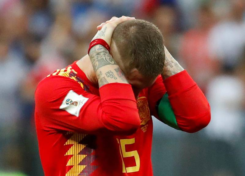 Soccer Football - World Cup - Round of 16 - Spain vs Russia - Luzhniki Stadium, Moscow, Russia - July 1, 2018  Spain's Sergio Ramos looks dejected after losing the penalty shootout  REUTERS/Christian Hartmann