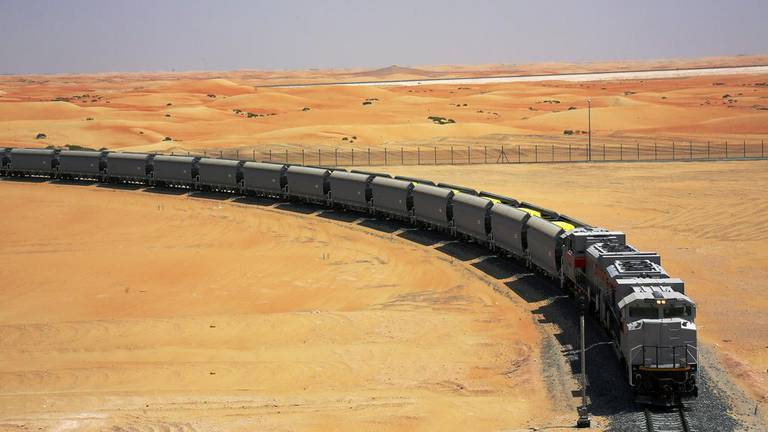 An image that illustrates this article UAE rail link from Fujairah to Saudi border on track for completion