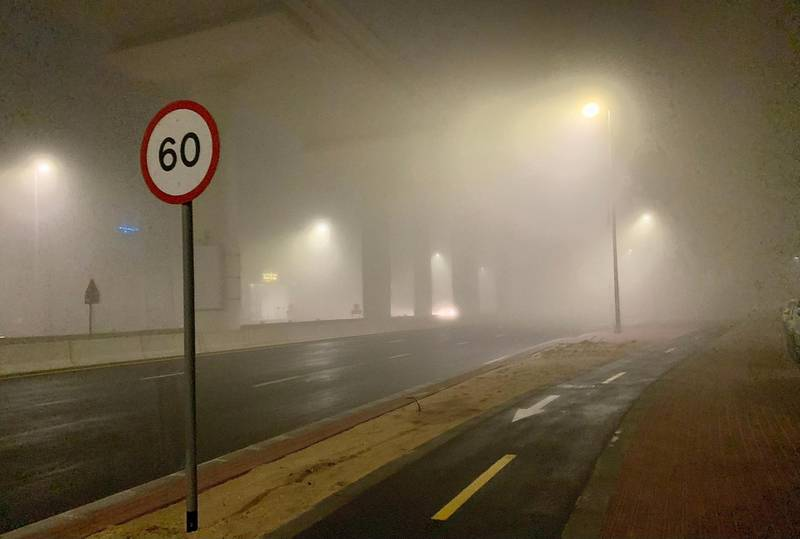 DUBAI, UNITED ARAB EMIRATES , January 19– View of the early morning fog from 2:30 am to 5 am around Dubai EXPO 2020 metro line between Al Furjan and Discovery Gardens area in Dubai. (Pawan Singh / The Nationals) For News/Stock/Online/Instagram/Standalone/Big Picture.