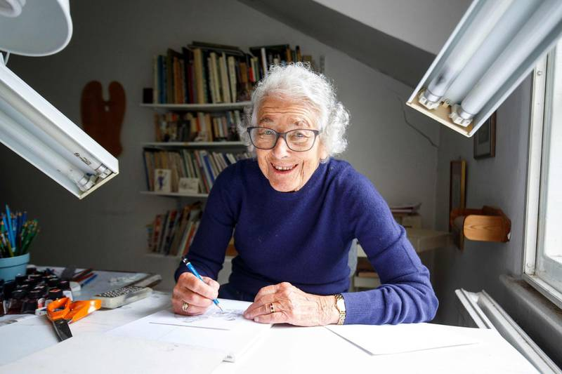 """(FILES) In this file photo taken on June 12, 2018 German-born British author and illustrator Judith Kerr, poses for a photograph at her home in west London on June 12, 2018. British author Judith Kerr, author of the famous children's book """"The Tiger Who Came To Tea"""" and creater of the """"Mog"""" series, has died at the age of 95, her publisher Harper Collins announced on May 23, 2019.  -   / AFP / Tolga Akmen"""