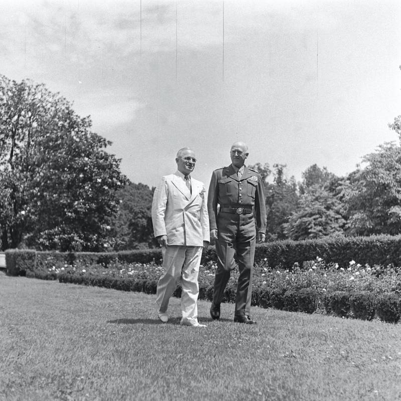 General George Patton and President Harry Truman walking together at White House Rose Garden in Washington, District of Columbia, 1945 (Photo by Marie Hansen/The LIFE Picture Collection via Getty Images)