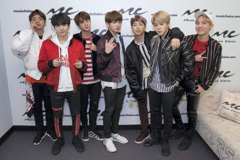 NEW YORK, NY - MARCH 22:  Jin, Suga, J-Hope, Rap Monster, Jimin, V and JungKook of the South Korean boy band 'BTS' visit Music Choice on March 22, 2017 in New York City.  (Photo by Santiago Felipe/Getty Images)