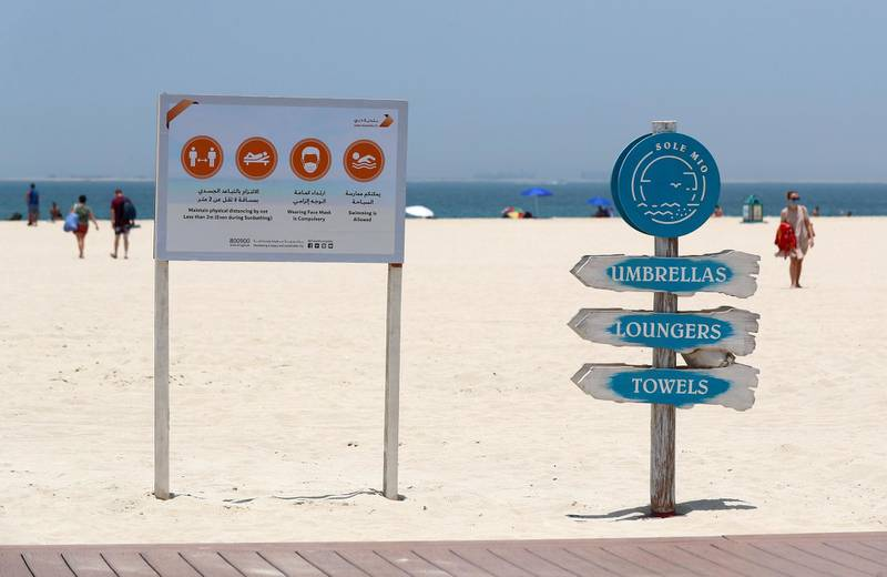 Dubai, United Arab Emirates - Reporter: N/A: News. The new rules at the beach in Jumeriah as beaches in Dubai re open. Friday, May 29th, 2020. Dubai. Chris Whiteoak / The National