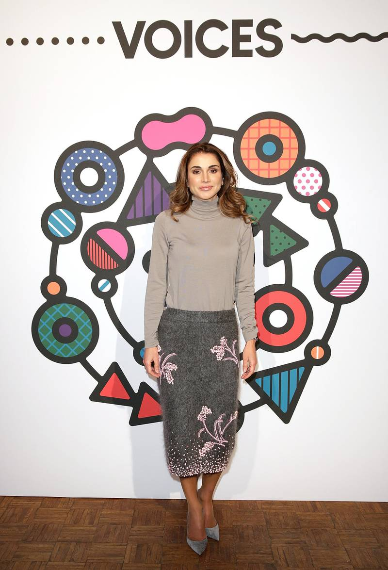 Oxfordshire, ENGLAND - NOVEMBER 30:  Queen Rania of Jordan during #BoFVOICES on November 30, 2017 in Oxfordshire, England.  (Photo by John Phillips/Getty Images for The Business of Fashion )