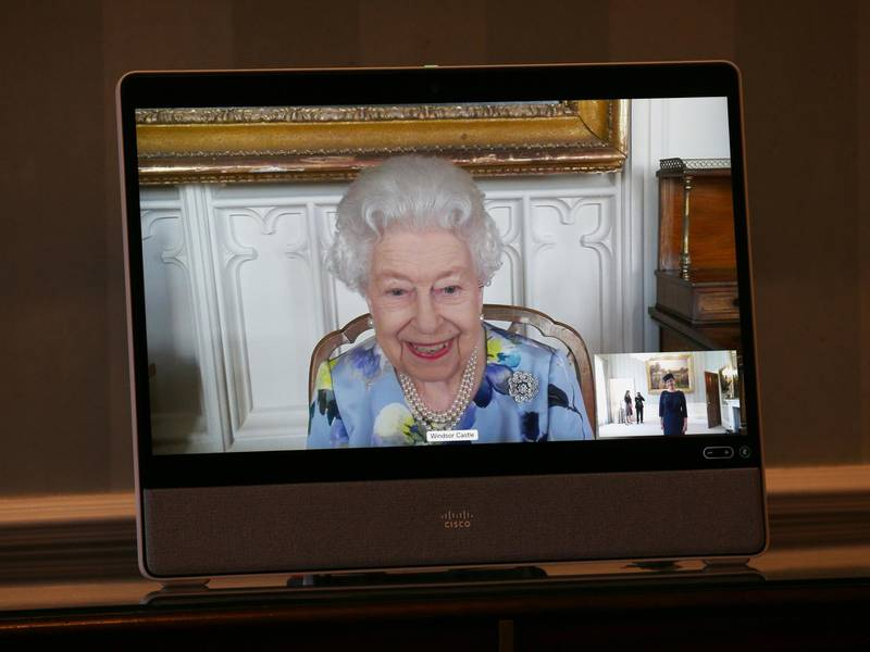 LONDON, ENGLAND - APRIL 27: Queen Elizabeth II appears on a screen by videolink from Windsor Castle, where she is in residence, during a virtual audience to receive Her Excellency Ivita Burmistre, the Ambassador of Latvia at Buckingham Palace on April 27, 2021 in London, England. (Photo by Yui Mok - Pool/Getty Images)