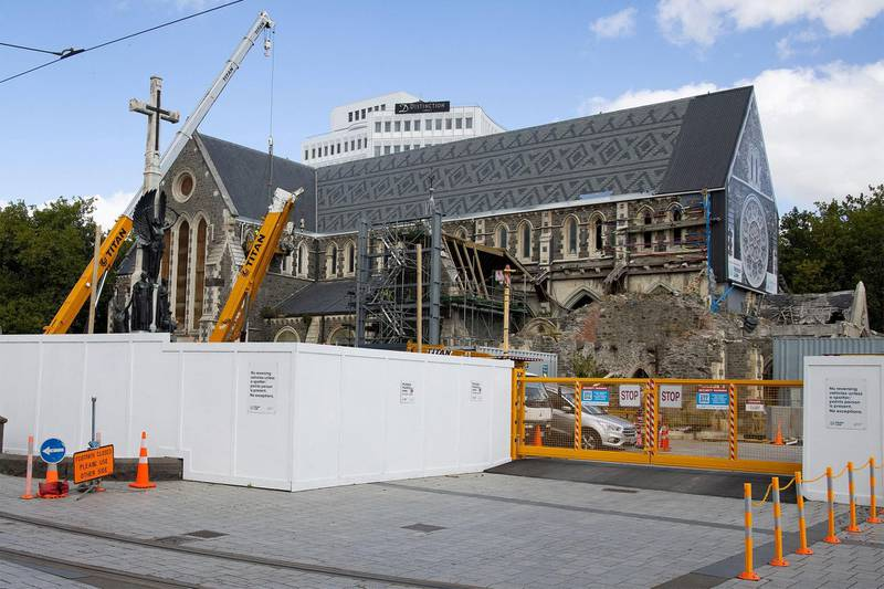 The cathedral being repaired nearly 10 years after the quake in Christchurch on February 17, 2021. AFP