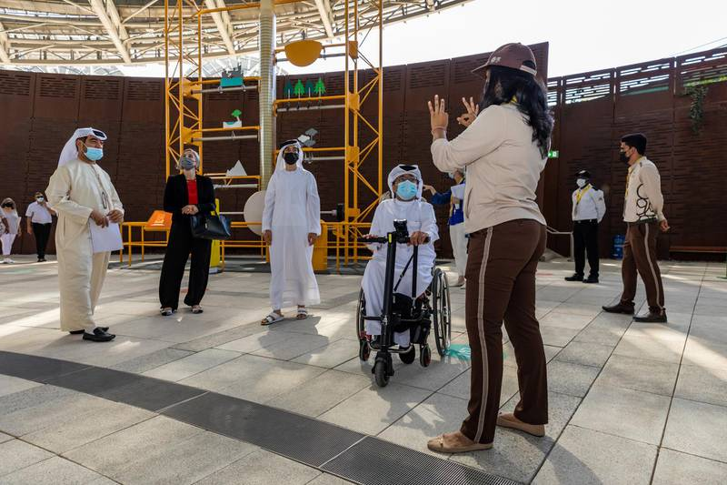 DUBAI, APRIL 01 2021: Guests experiencing a low sensory tour of Terra - The Sustainability Pavilion on World Autism Day, Expo 2020 Dubai. (Photo by Suneesh Sudhakaran/Expo 2020)
