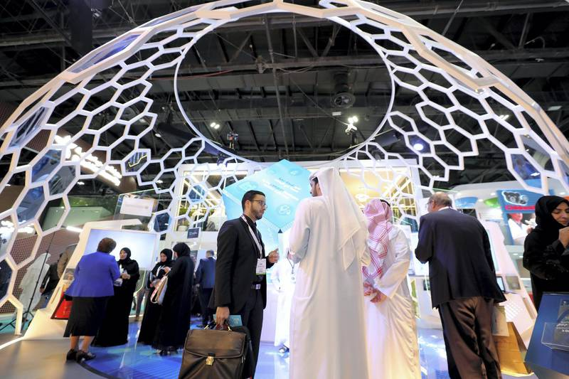 Dubai, United Arab Emirates - Reporter: Dan Sanderson: People gather at the SEHA stand for the Arab Health conference. Monday, January 27th, 2020. World trade centre, Dubai. Chris Whiteoak / The National