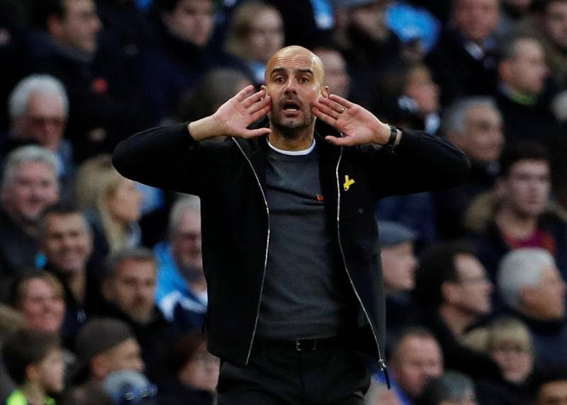 """Soccer Football - Premier League - Manchester City vs Arsenal - Etihad Stadium, Manchester, Britain - November 5, 2017   Manchester City manager Pep Guardiola   Action Images via Reuters/Lee Smith  EDITORIAL USE ONLY. No use with unauthorized audio, video, data, fixture lists, club/league logos or """"live"""" services. Online in-match use limited to 75 images, no video emulation. No use in betting, games or single club/league/player publications. Please contact your account representative for further details."""