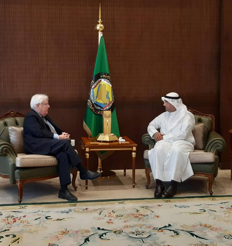 Griffiths met earlier today in Riyadh with GCC  new Secretary-General, Nayef bin Falah Al-Hajraf to discuss the situation in Yemen. He thanked him for the consistent collaboration and support by the Gulf Cooperation Council. Courtesy UN Special Envoy for Yemen
