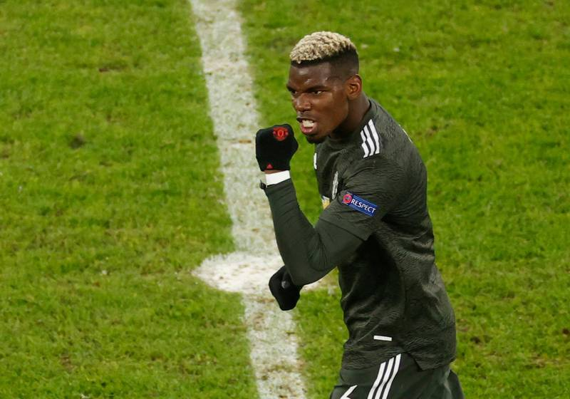 Soccer Football - Champions League - Group H - RB Leipzig v Manchester United - Red Bull Arena, Leipzig, Germany - December 8, 2020 Manchester United's Paul Pogba celebrates their second goal Pool via REUTERS/Odd Andersen