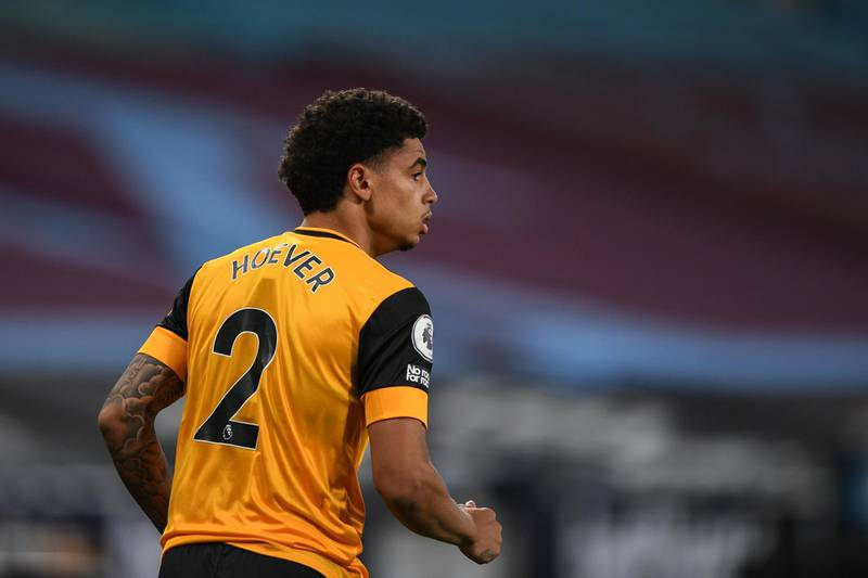 LONDON, ENGLAND - SEPTEMBER 27:  Ki-Jana Hoever of Wolverhampton Wanderers during the Premier League match between West Ham United and Wolverhampton Wanderers at London Stadium on September 27, 2020 in London, United Kingdom. Sporting stadiums around the UK remain under strict restrictions due to the Coronavirus Pandemic as Government social distancing laws prohibit fans inside venues resulting in games being played behind closed doors. (Photo by Sam Bagnall - AMA/Getty Images)