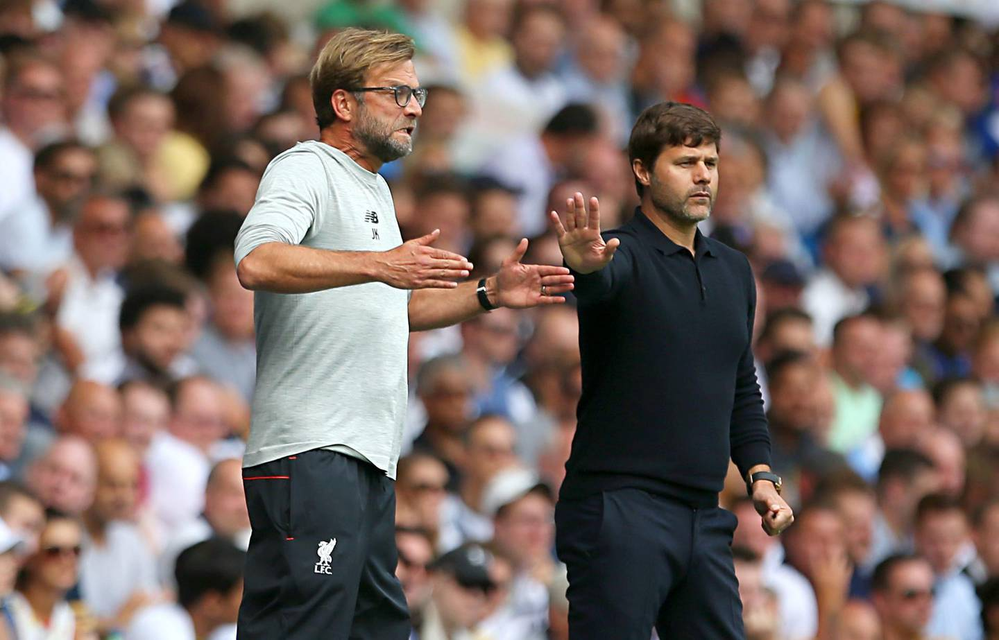 File photo dated 27-08-2016 of Liverpool manager Jurgen Klopp (left) and Tottenham Hotspur manager Mauricio Pochettino during the Premier League match at White Hart Lane, London. PRESS ASSOCIATION Photo. Issue date: Wednesday May 29, 2019. KloppÕs record in finals is well known and remains the stick with which he is beaten.  See PA story SOCCER Final Talking Points. Photo credit should read Steve Paston/PA Wire.
