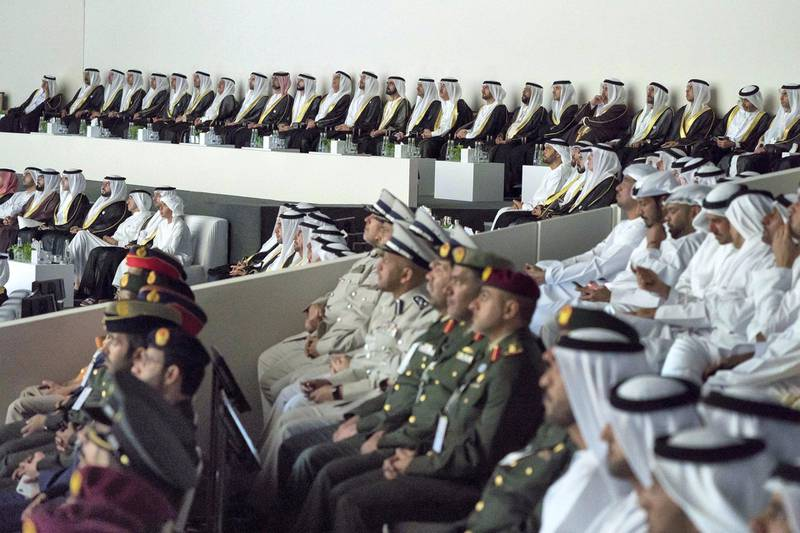ABU DHABI, UNITED ARAB EMIRATES - February 26, 2018: HH Sheikh Mohamed bin Zayed Al Nahyan Crown Prince of Abu Dhabi Deputy Supreme Commander of the UAE Armed Forces (12th R), HH Sheikh Mohamed bin Rashid Al Maktoum, Vice-President, Prime Minister of the UAE, Ruler of Dubai and Minister of Defence (11th R), and other dignitaries, attend the opening ceremony of The Founder's Memorial. ( Mohamed Al Hammadi / Crown Prince Court - Abu Dhabi ) ---