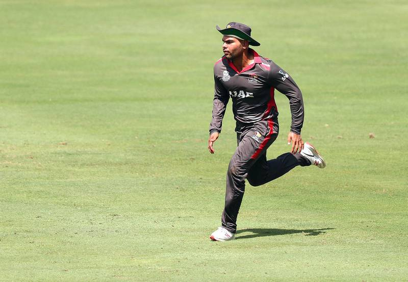 Dubai, United Arab Emirates - October 14, 2019: The UAE's Darius D'Silva during the ICC Mens T20 World cup qualifier warm up game between the UAE and Scotland. Monday the 14th of October 2019. International Cricket Stadium, Dubai. Chris Whiteoak / The National