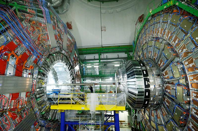 Michael Hoch, coordinator at the Compact Muon Solenoid (CMS) particle detector, monitors an upgrade of the pixel detector at The European Organization for Nuclear Research (CERN) in Cessy, France, March 3, 2017. REUTERS/Denis Balibouse