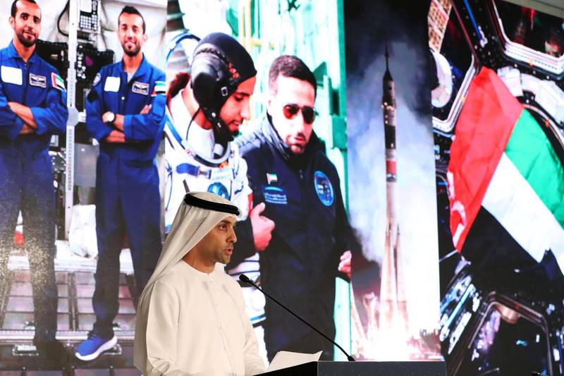 Dubai, United Arab Emirates - Reporter: Sarwat Nasir: Salem Humaid Al Marri, assistant DG, Science and technology sector, Head of the UAE astronaut program. Press conference by MBRSC to announce details of search for next UAE astronaut. Tuesday, 3rd of March, 2020. Downtown, Dubai. Chris Whiteoak / The National