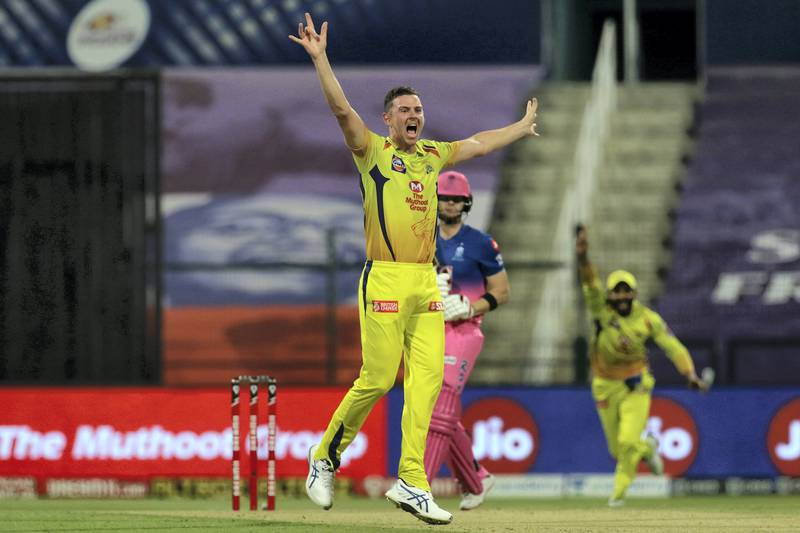 Josh Hazelwood of Chennai Superkings appeals unsuccessfully during match 37 of season 13 of the Dream 11 Indian Premier League (IPL) between the Chennai Super Kings and the Rajasthan Royals at the Sheikh Zayed Stadium, Abu Dhabi  in the United Arab Emirates on the 19th October 2020.  Photo by: Vipin Pawar  / Sportzpics for BCCI