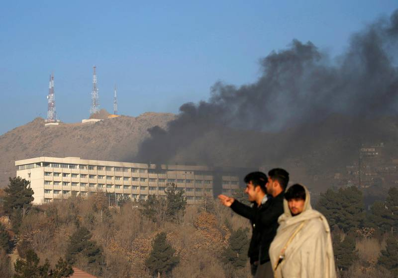 Smoke rises from the Intercontinental Hotel during an attack in Kabul, Afghanistan January 21, 2018. REUTERS/Mohammad Ismail/ File photo