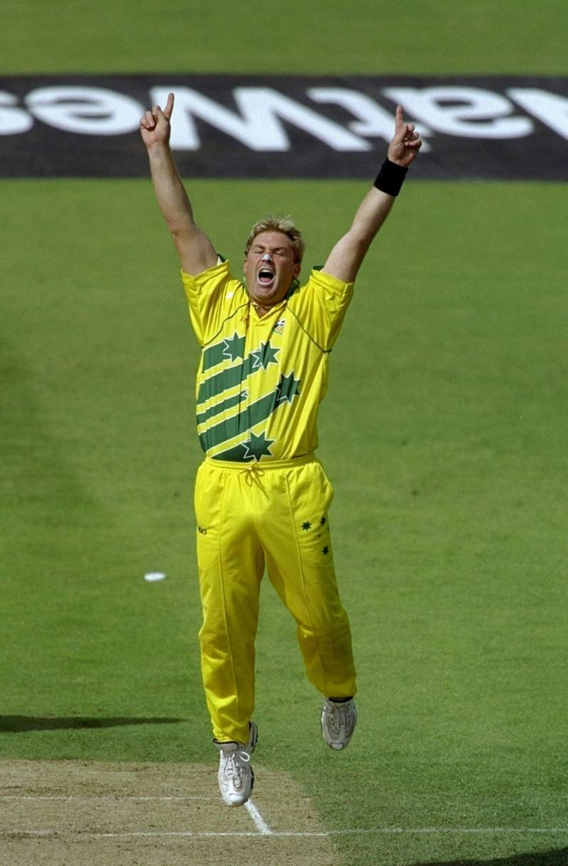 17 Jun 1999:  Shane Warne of Australia celebrates a South African wicket in the World Cup semi-final at Edgbaston in Birmingham, England. Warne took 4 for 29 and the Man of the Match award as the match finished a tie and Australia went through after finishing higher in the Super Six table. \ Mandatory Credit: Adrian Murrell /Allsport/Getty Images