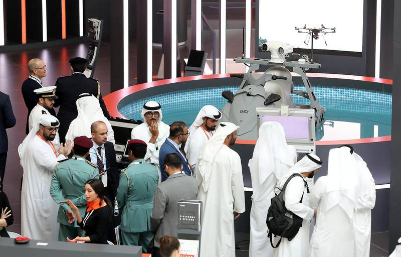 ABU DHABI, UNITED ARAB EMIRATES , Feb 23  – 2020 :- Visitors at the Edge stand on the first day of the UMEX & SimTEX held at Abu Dhabi National Exhibitions Centre in Abu Dhabi. (Pawan  Singh / The National) For News/Online/Instagram.  Story by Kelsey Warner