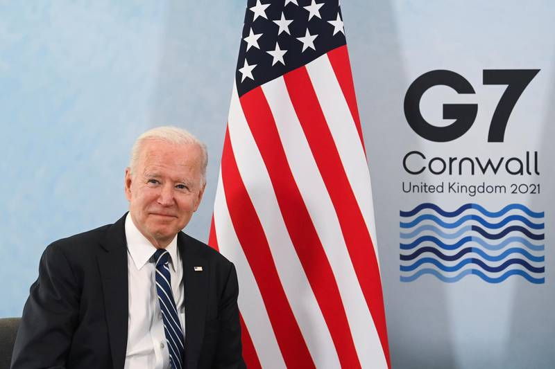 U.S. President Joe Biden poses for a picture during a meeting with Britain's Prime Minister Boris Johnson (not pictured) ahead of the G7 summit, at Carbis Bay, Cornwall, Britain June 10, 2021. REUTERS/Toby Melville/Pool