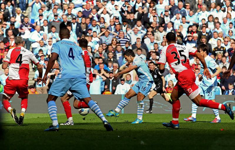 MANCHESTER, ENGLAND - MAY 13:  Sergio Aguero of Manchester City scores his team's third and matchwinning goal during the Barclays Premier League match between Manchester City and Queens Park Rangers at the Etihad Stadium on May 13, 2012 in Manchester, England.  (Photo by Alex Livesey/Getty Images)