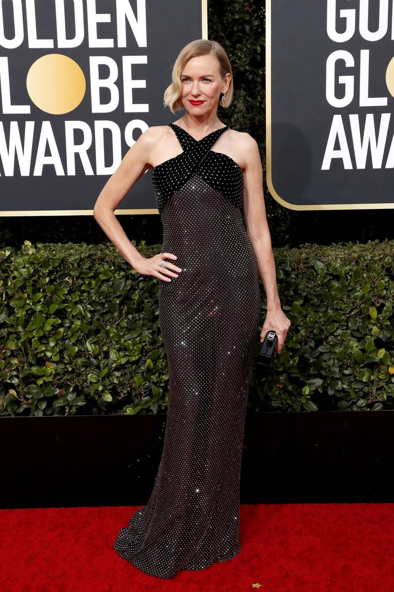 epa08105648 Naomi Watts arrives for the 77th annual Golden Globe Awards ceremony at the Beverly Hilton Hotel, in Beverly Hills, California, USA, 05 January 2020.  EPA-EFE/NINA PROMMER