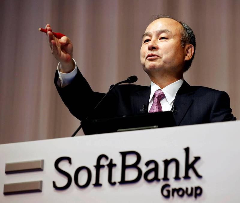 FILE - In this Nov. 6, 2019, file photo, SoftBank founder and Chief Executive Officer Masayoshi Son speaks during a news conference in Tokyo. Japanese technology company SoftBank Group Corp. ended on Thursday, April 2, 2020,  its tender offer of up to $3 billion worth of shares in office-space rental venture WeWork. (Kyodo News via AP, File)
