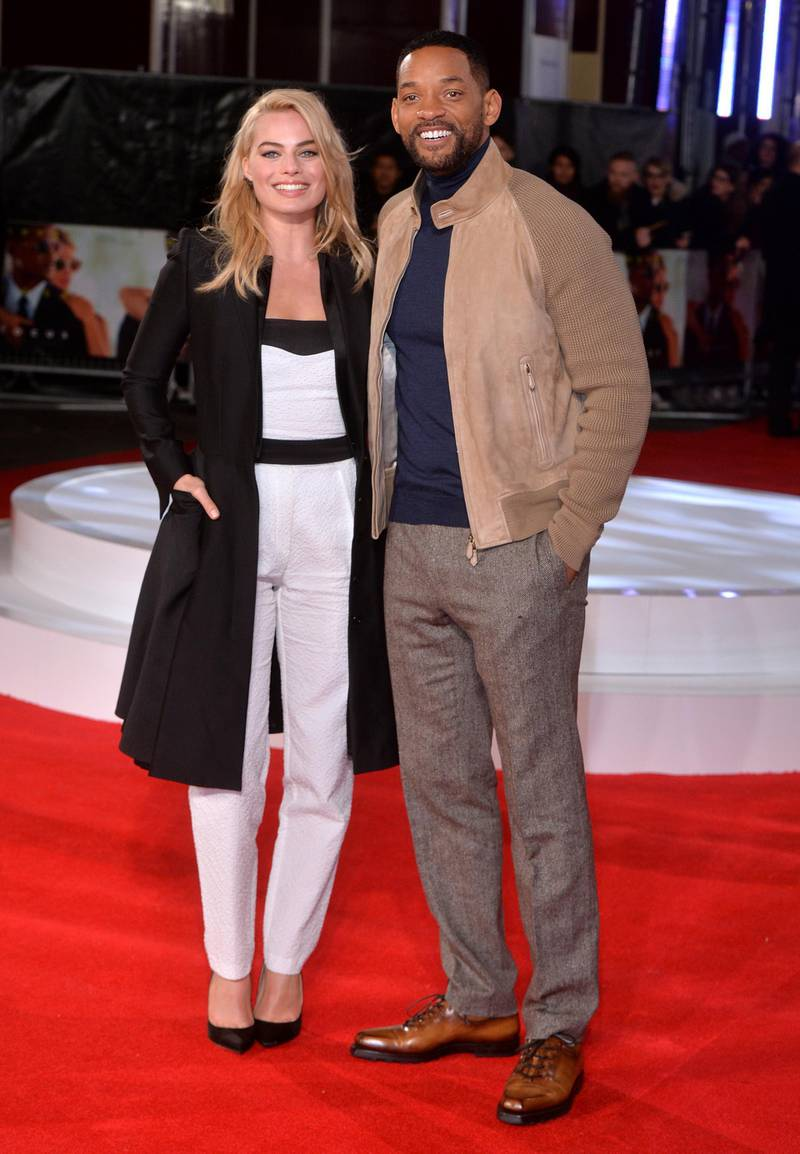 """LONDON, ENGLAND - FEBRUARY 11:  Margot Robbie and Will Smith attend a special screening of """"Focus"""" at Vue West End on February 11, 2015 in London, England.  (Photo by Anthony Harvey/Getty Images)"""