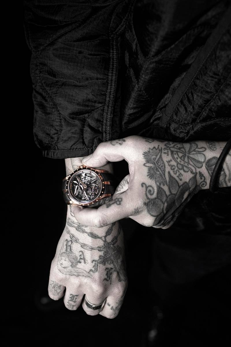 """Roger Dubuis has partnered with Los Angeles tattoo artist, Dr. Woo, under the concept, """"Urban Art Tribe."""" The long-term partnership that will begin with the artist sharing his creative process by opening their workshops to clients of the brand. Courtesy Roger Dubuis"""