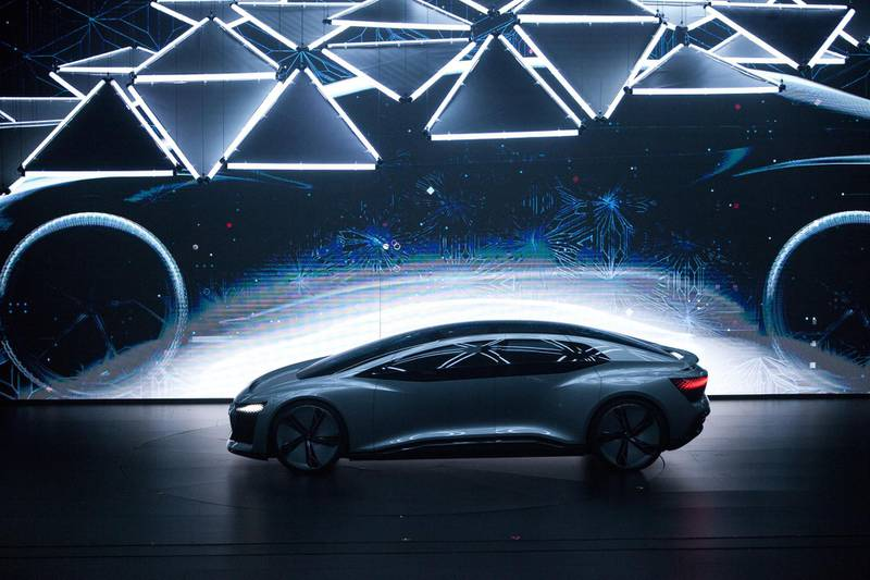 The Audi AG Aicon electric autonomous automobile is presented during a world premiere event in Shenzhen, China, on Tuesday, June 5, 2018. Audi plans to make five new-energy vehicle models in China by 2022, the company's China head Joachim Wedler said. Photographer: Giulia Marchi/Bloomberg
