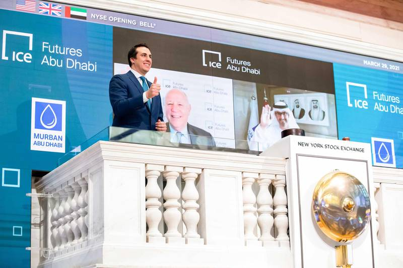 """The New York Stock Exchange celebrates the launch of ICE Futures Abu DhabiThe New York Stock Exchange celebrates, today, Monday, March 29, 2021, the launch of ICE Futures Abu Dhabi (""""IFAD"""") markets, ICE's new exchange in Abu Dhabi. To honor the occasion, Jeffrey Sprecher, Chairman and Chief Executive Officer, Intercontinental Exchange, Chairman, New York Stock Exchange, and H.E. Dr. Sultan Al Jaber, Chief Executive Officer, ADNOC Group, virtually ring The Opening Bell®.(Bell Ringer – John Tuttle, NYSE Vice Chairman and Chief Commercial Officer )Photo Credit: NYSE"""