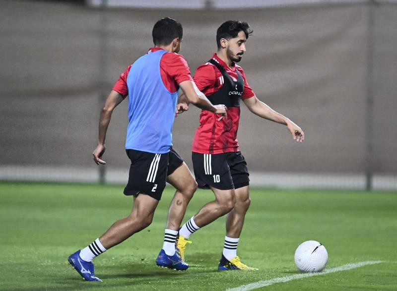 UAE football team training in Dubai ahead of upcoming 2022 World Cup qualifiers. Courtesy UAE FA