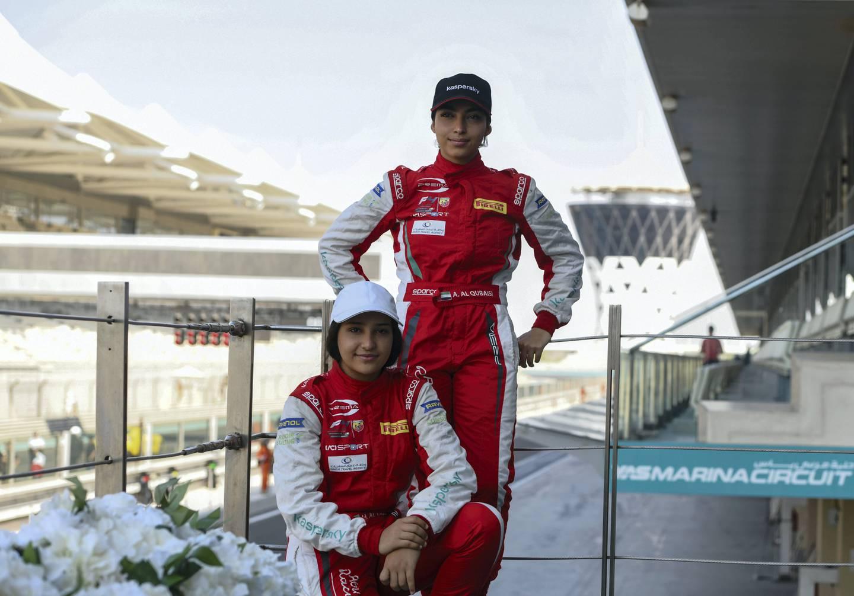 Abu Dhabi, United Arab Emirates - The Al Qubaisi sisters  Amna, 19 and Hamda, 17 competes for Formula 4, at Yas Marina Circuit. Khushnum Bhandari for The National