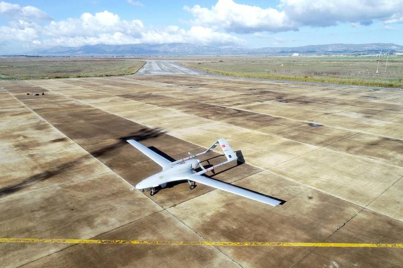 UNSPECIFIED - DECEMBER 16: The first Turkish military drone lands at Gecitkale Airport on December 16, 2019. Bayraktar TB2 armed unmanned aerial vehicles, stationed at Naval Air Base Command in Turkey's Aegean district of Dalaman, landed in TRNC at 10 a.m. (0700GMT) following a green light from the government of the country. (Photo by Muhammed Enes Yildirim/Anadolu Agency via Getty Images)