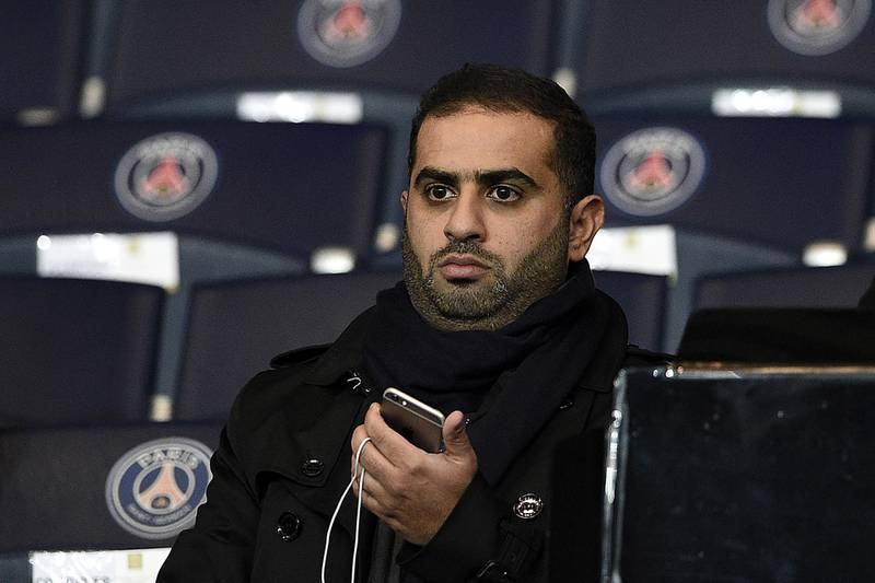(FILES) In this file photo taken on December 8, 2015 Yousef al-Obaidly, president de BeIN Sports France, attends the UEFA Champions League group A football match between Paris-Saint-Germain (PSG) and Shakhtar Donetsk at the Parc des Princes stadium in Paris. Yousef Al-Obaidly was indicted, end of March in France, in the investigation on suspicions of corruption over the awarding to Doha of the World Athletics championships, judicial sources close to the case said to the AFP on May 21, 2019. / AFP / FRANCK FIFE