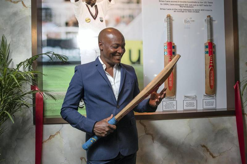 DUBAI, UNITED ARAB EMIRATES. 18 FEBRUARY 2021. Cricketer Brian Lara at TJ's in the Taj Hotel Jumeirah Lake Towers with some of his famous bats on display. (Photo: Antonie Robertson/The National) Journalist: Amith Pasela. Section: Sport.