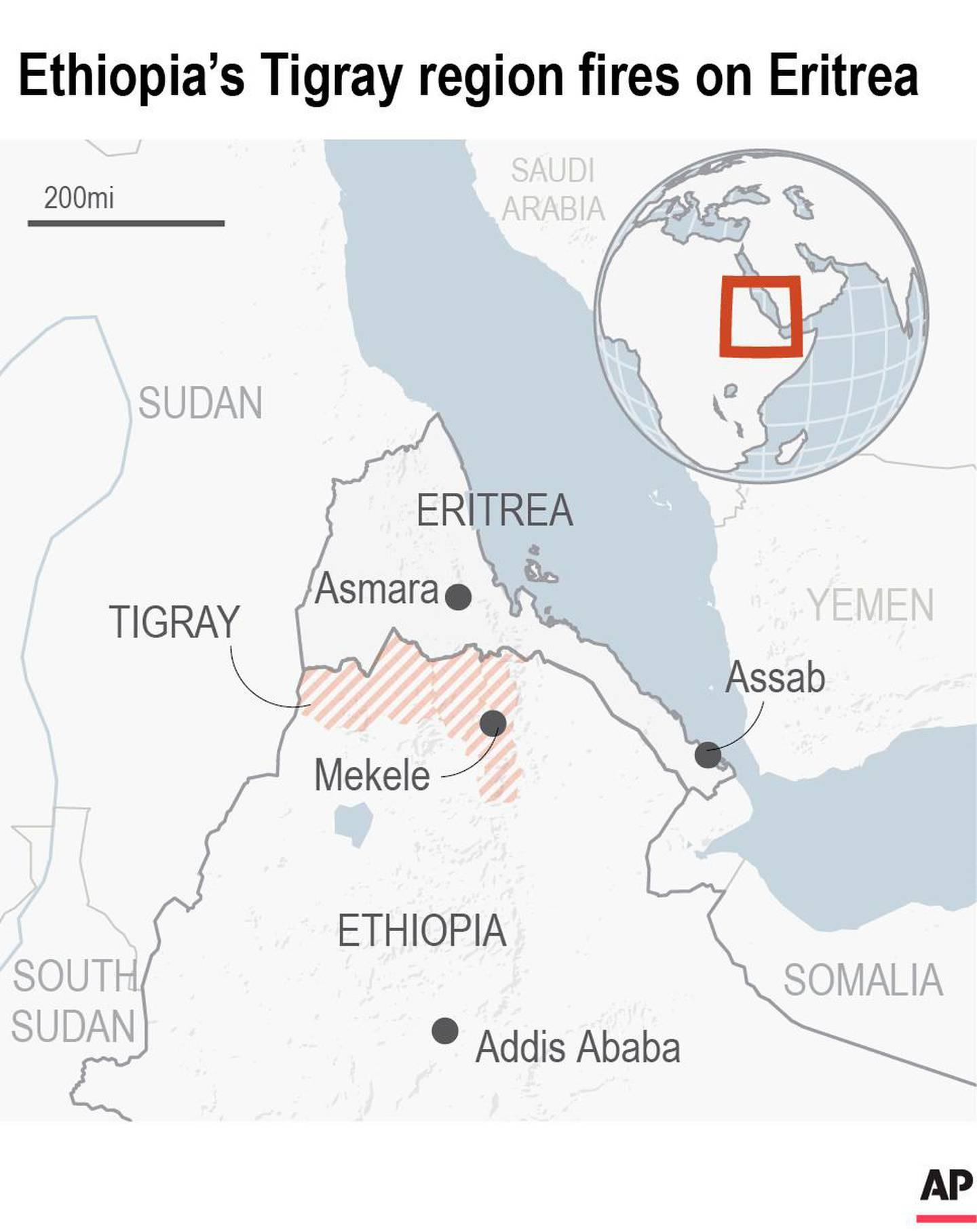 Map locates Eritrea and the Tigray region of Ethiopia
